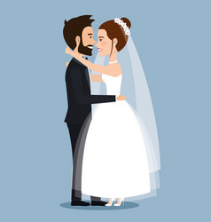 beautiful young bride and groom couple embracing vector image
