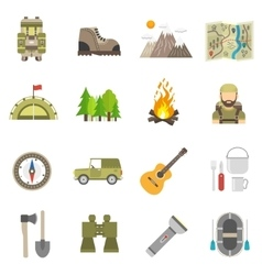 Tourism Icons Flat Set vector image