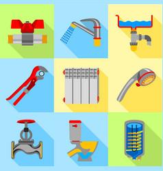type of plumbing work icons set flat style vector image