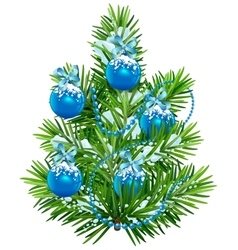 Little Christmas tree with blue balls and garland vector image vector image