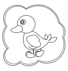 silhouette cloud frame with duck side view animal vector image
