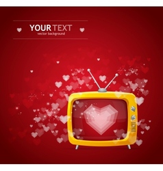 Heart and tv Valentines day card vector image vector image