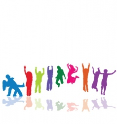 kids jumping playing dancing vector image