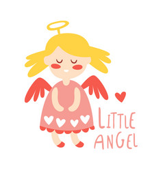 little baby girl angel colorful hand drawn vector image vector image