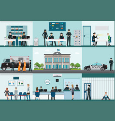 modern police station building and interior set vector image vector image