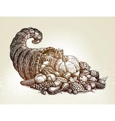 Thanksgiving day Vintage cornucopia sketch vector image