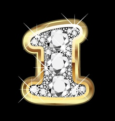 1 number gold and diamond vector