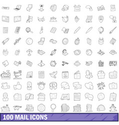 100 mail icons set outline style vector image