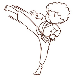 A simple sketch of a boy doing martial arts vector image