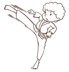 A simple sketch of a boy doing martial arts vector image