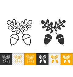 acorn oak simple black line icon vector image