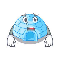 Afraid igloo ice house isolated on mascot vector