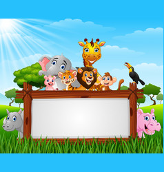 Animals with a blank sign wood vector