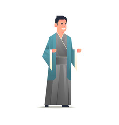 Asian guy wearing traditional clothes smiling man vector