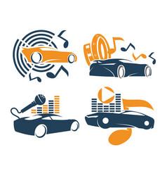 Audio car system logo template set music speaker vector