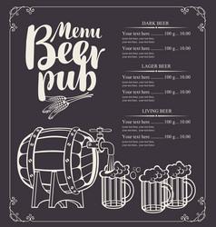 Beer pub menu with barrel and full beer glasses vector