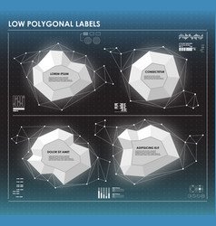 Black and white low polygonal labels elements for vector