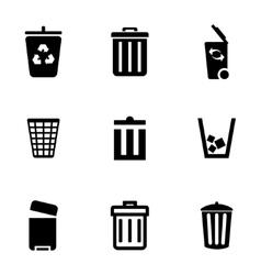 Black trash can icons set vector
