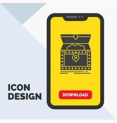Box chest gold reward treasure glyph icon in vector