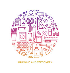 Bright stationery and drawing line icons round vector