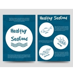 Brochure flyers template with healthy seafood vector