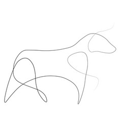 bull one line vector image