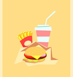 burger fast food meal and drink fat hamburger vector image