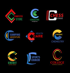 business design of c icons vector image