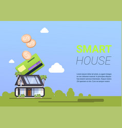 buying smart house technology credit card payment vector image