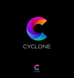 c cyclone vortex monogram letter logo swirl vector image