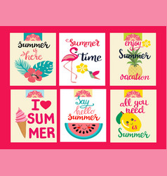 Cards of summer elements theme of summer holiday vector