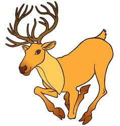 cartoon deer with large antlers vector image