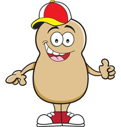 Cartoon potato giving thumbs up vector image