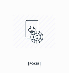 Casino logo playing card with coin outline icon vector