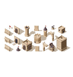 Castles isometric medieval buildings brick wall vector
