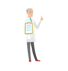 Caucasian doctor with clipboard giving thumb up vector