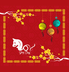 Chinese new year 2018 year of the dog background vector