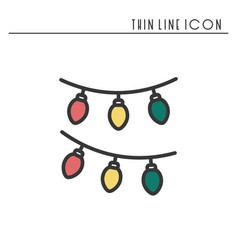christmas garland thin line icon new year vector image