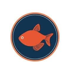 Circular border with silhouette fish vector