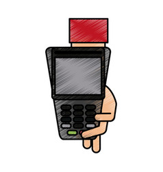 Color pencil hand holding a dataphone digital vector