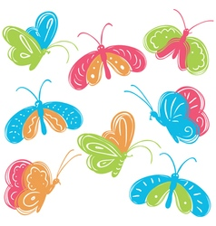 Colorful buterfly set vector