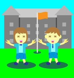 Concept boy and girl happy time at school vector