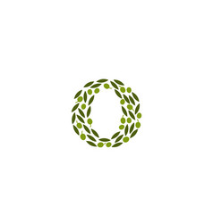creative abstract o letter olive leaves logo vector image
