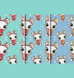 cute cat christmas greeting card seamless pattern vector image