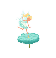 Cute fairy hovering over flower and spreading vector