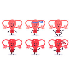 cute uterus characters healthy and sick women vector image