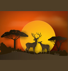 Deer in forest with sunset paper art and craft vector