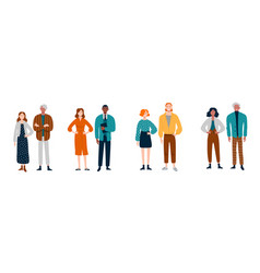 diverse group young people in pairs vector image