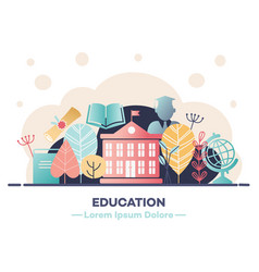 Education banner with various symbols of studying vector