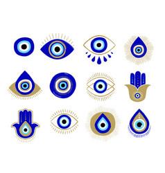 Evil eye or turkish eye symbols and icons set vector